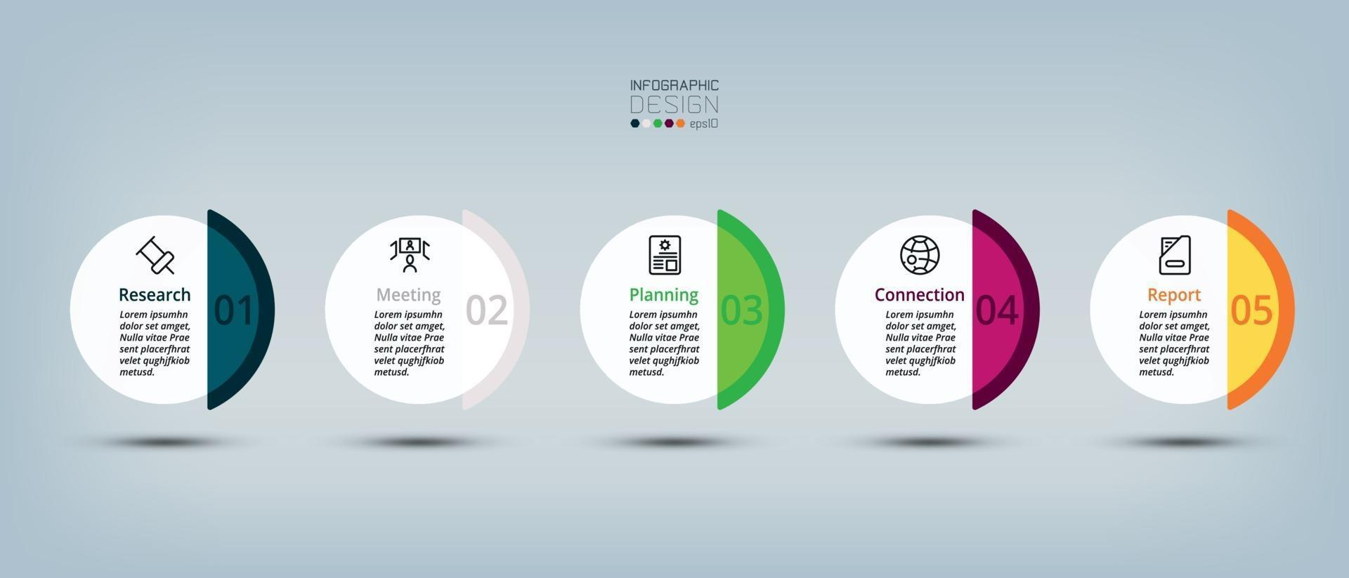 le cercle en 5 étapes avec une large gamme de couleurs peut être utilisé pour de multiples tâches telles que les supports publicitaires, la conception et la planification d'entreprise. infographie vectorielle. vecteur