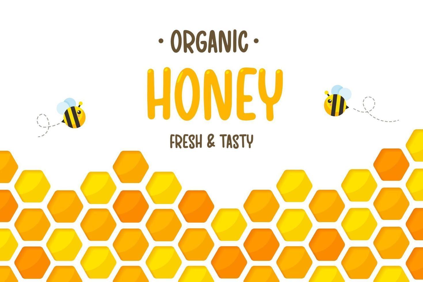 Papier à motif hexagonal en nid d'abeille jaune doré coupé en arrière-plan avec abeille et miel doux à l'intérieur. vecteur