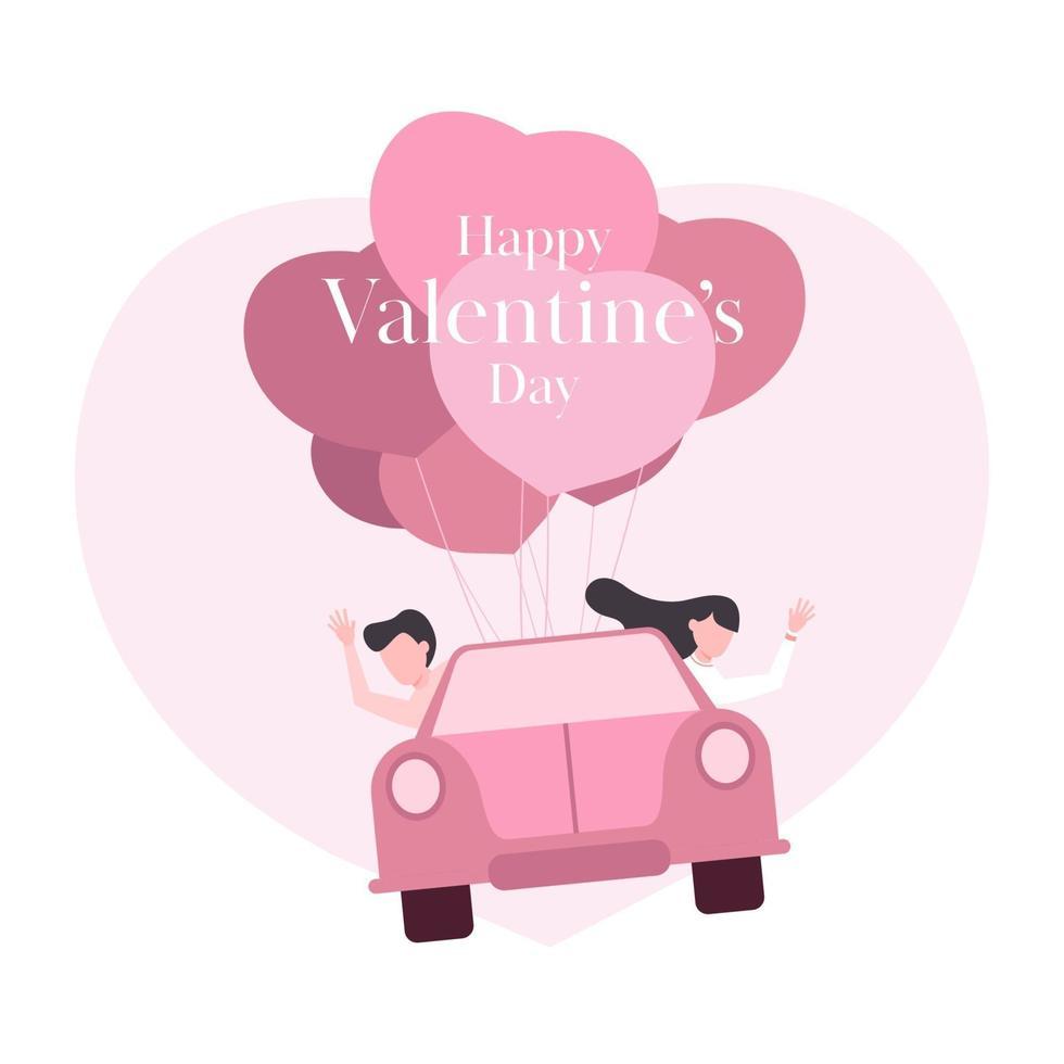 Joyeuse saint Valentin. couple dans une voiture flottant dans le ciel avec un ballon coeur. vecteur