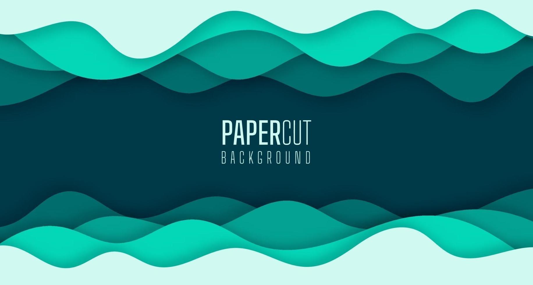 3d abstrait simple de vagues d'eau de mer verte papier moderne coupé design graphique vecteur