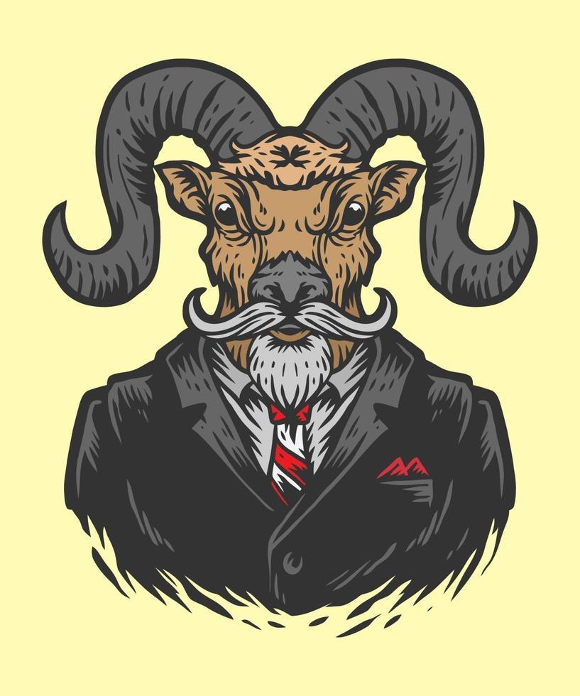 illustration de l'homme de bureau de chèvre vecteur