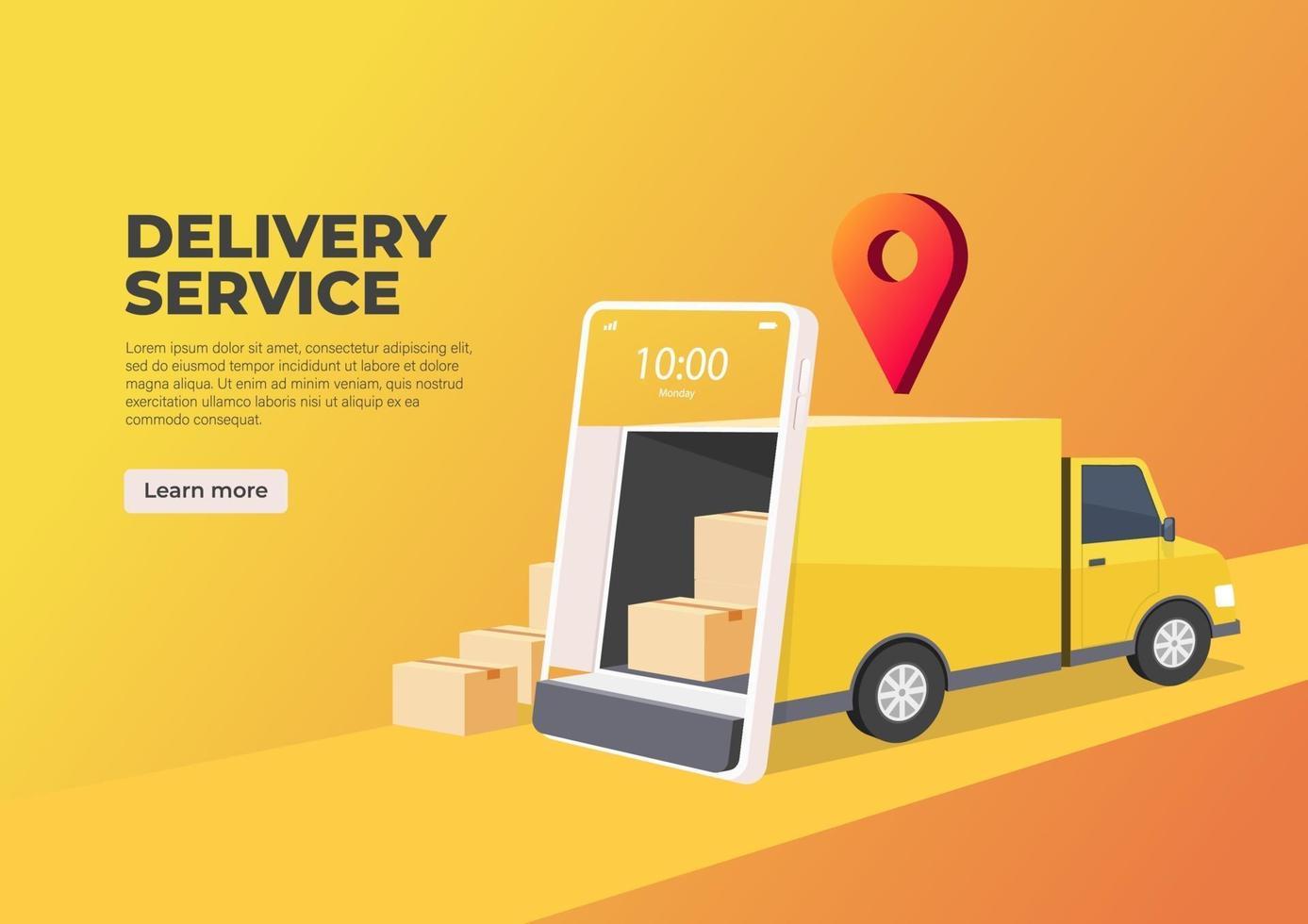 le camion de livraison ouvre la porte depuis l'écran du téléphone mobile. bannière de service de livraison en ligne. logistique intelligente, expédition de fret et transport de fret. vecteur