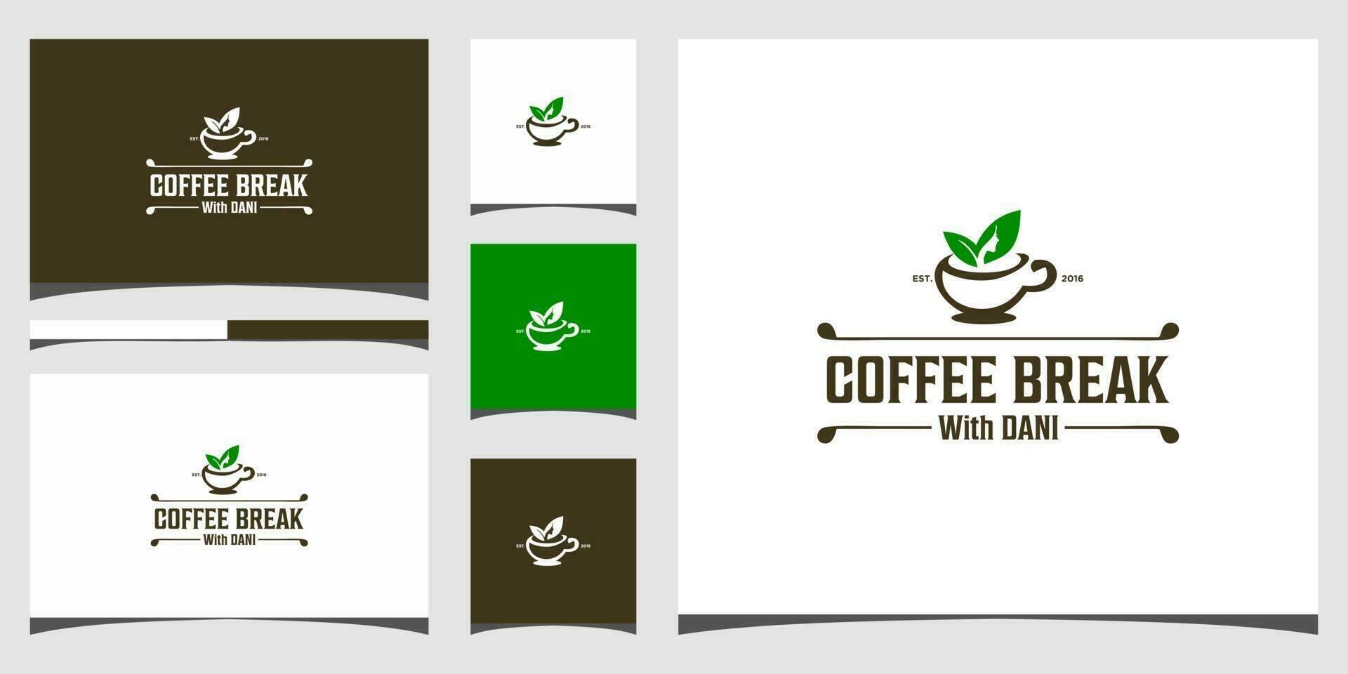 Modèles De Logo De Pause Café Et Conception De Cartes De Visite Vecteur Premium