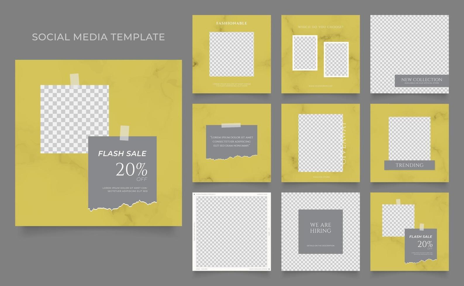 promotion de vente de mode de blog de bannière de modèle de médias sociaux. affiche de vente organique entièrement modifiable de puzzle de cadre de poteau carré. fond de marbre vecteur gris jaune