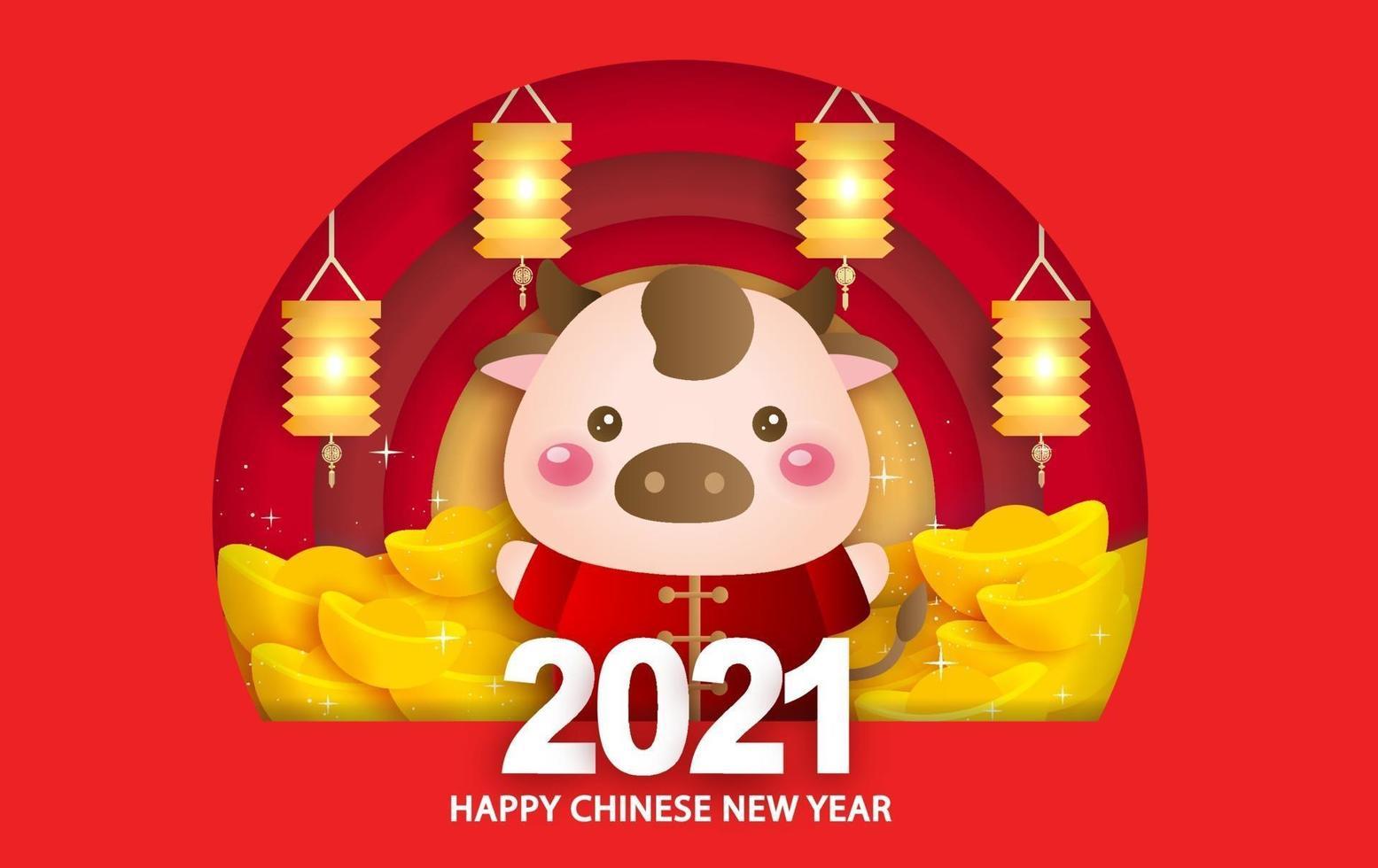 nouvel an chinois 2021 année du bœuf bannière vecteur