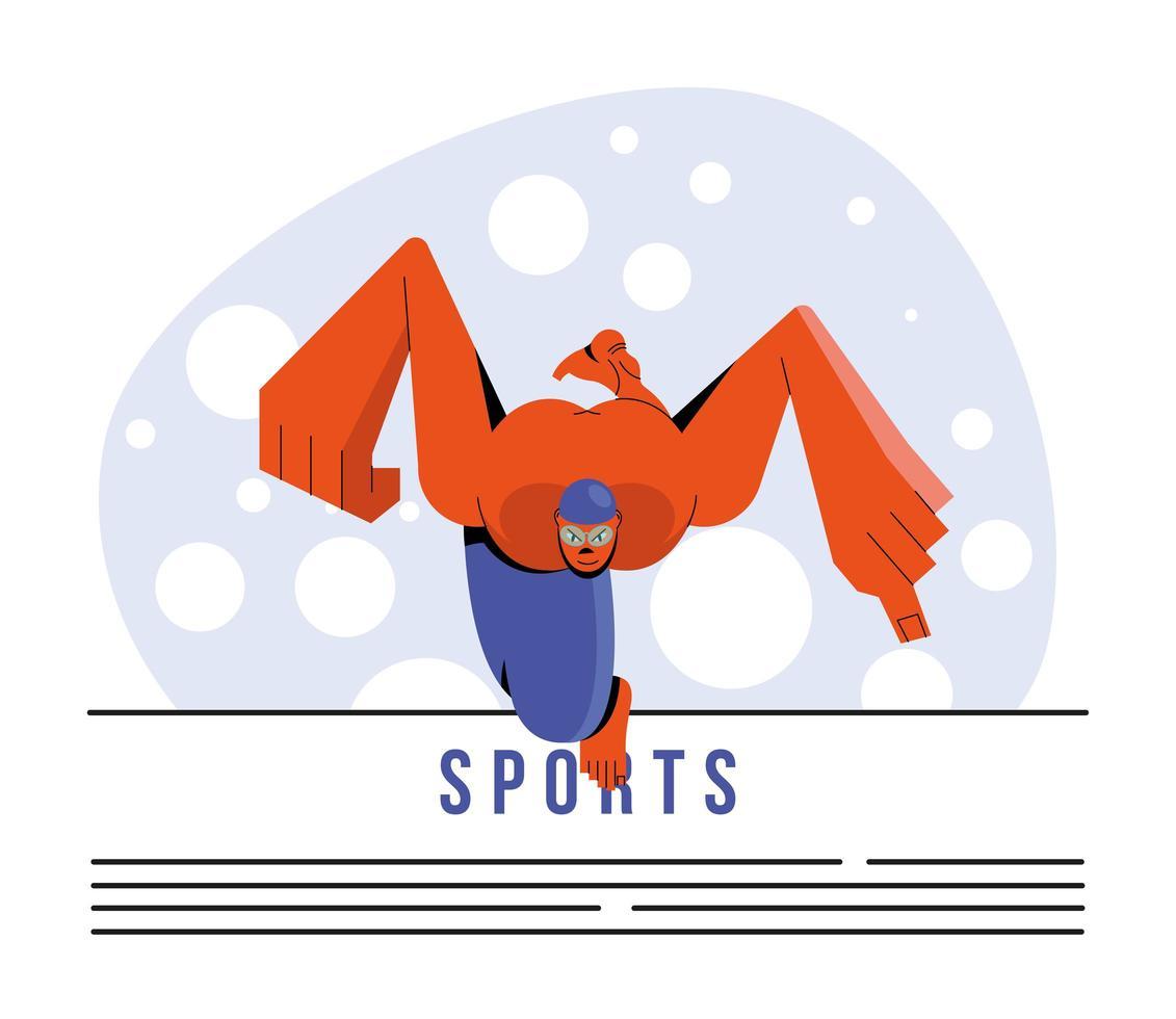 modèle de bannière de natation athlète vecteur