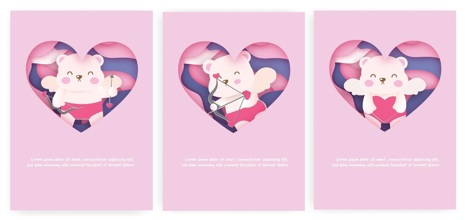 ensemble de cartes de la Saint-Valentin avec de jolis oursons cupidon vecteur
