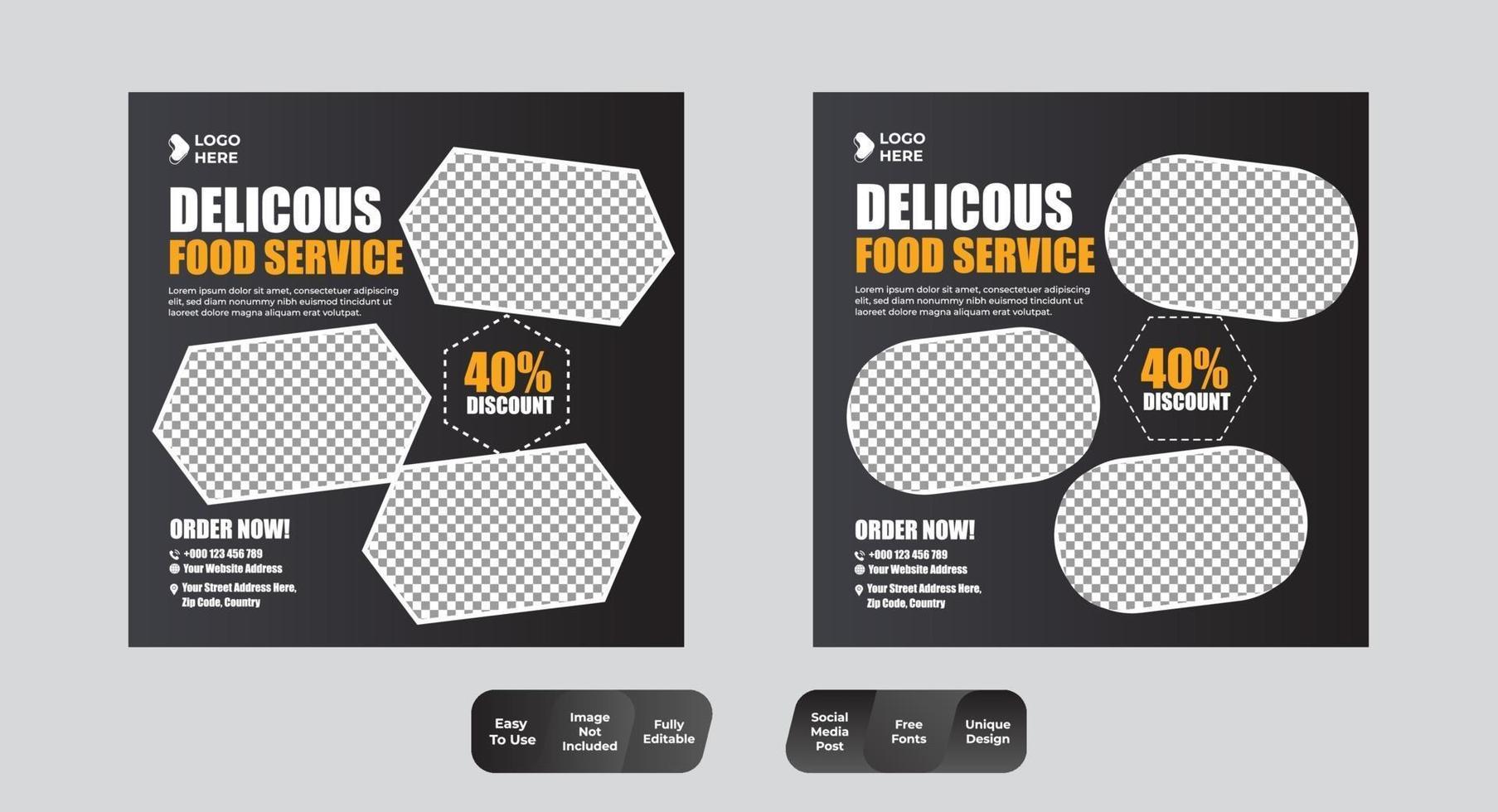 modèle de bannière de publication de médias sociaux alimentaires vecteur