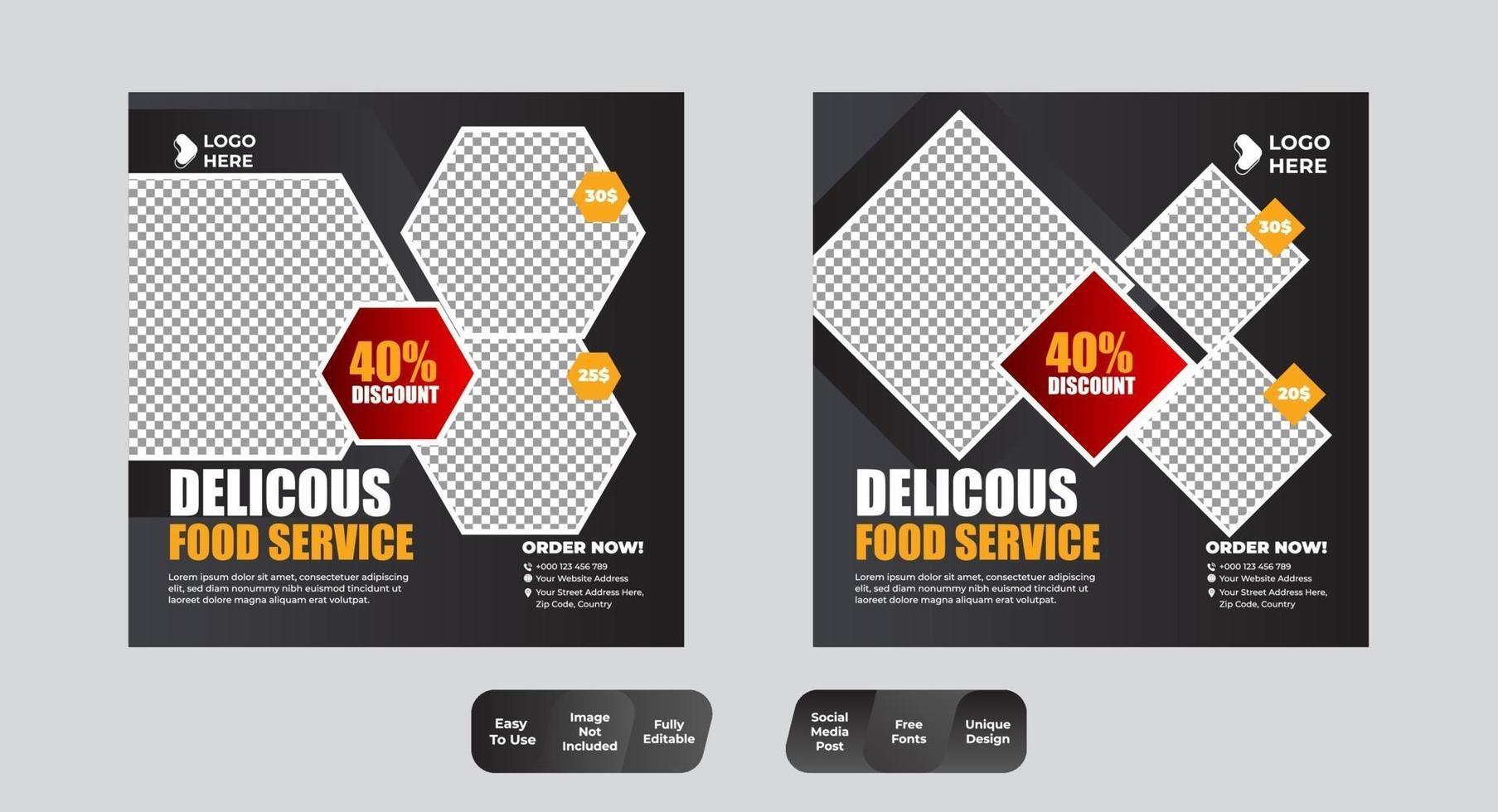 ensemble de publications sur les réseaux sociaux nourriture et boisson vecteur