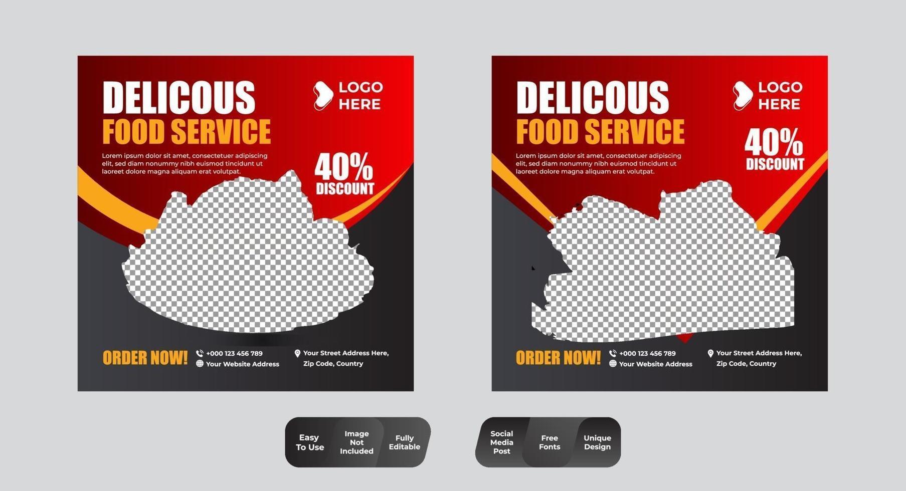 ensemble de médias sociaux de modèle de bannière de menu alimentaire vecteur