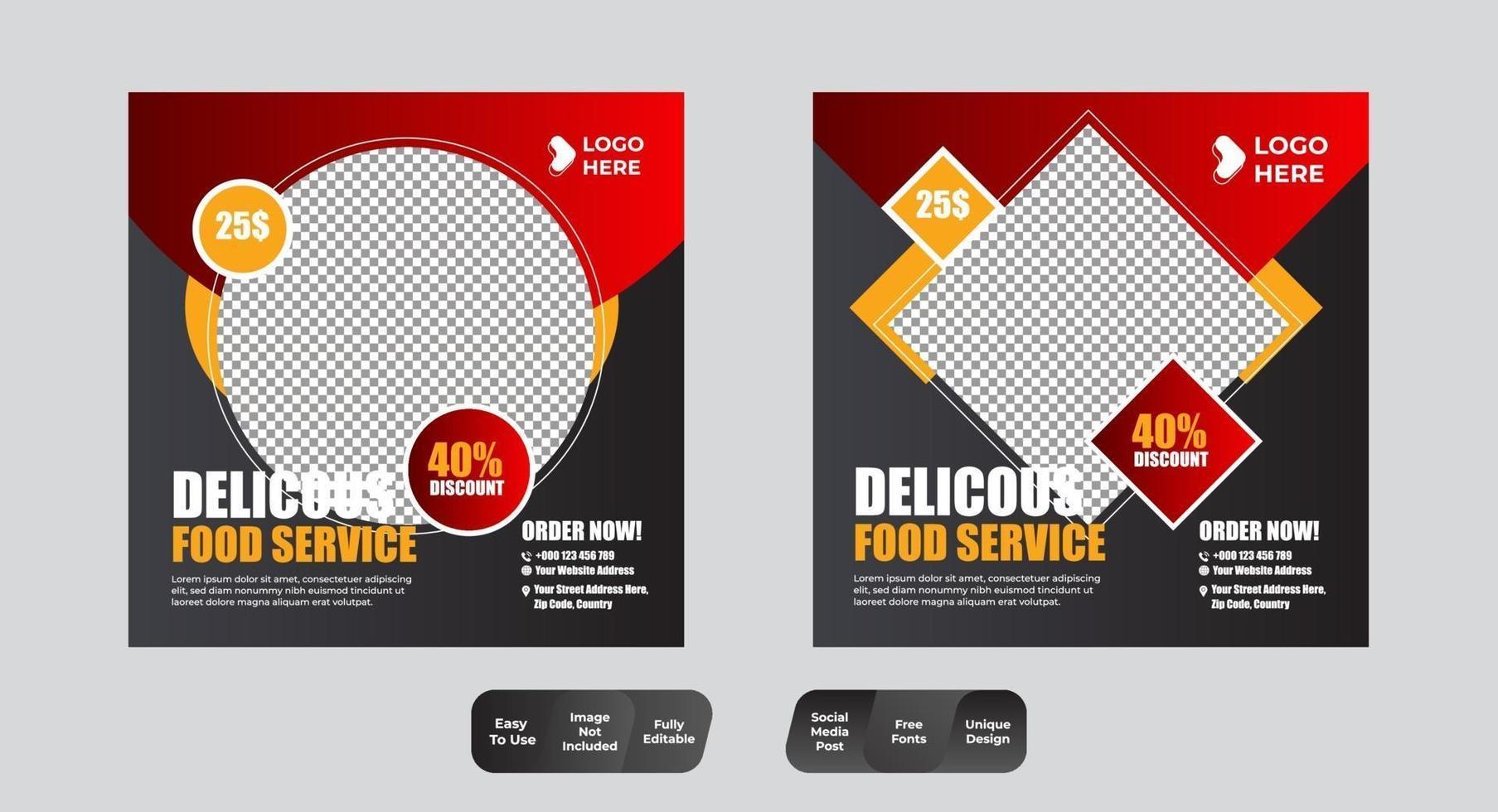 ensemble de modèles de conception de publication de médias sociaux de nourriture et de restaurant vecteur