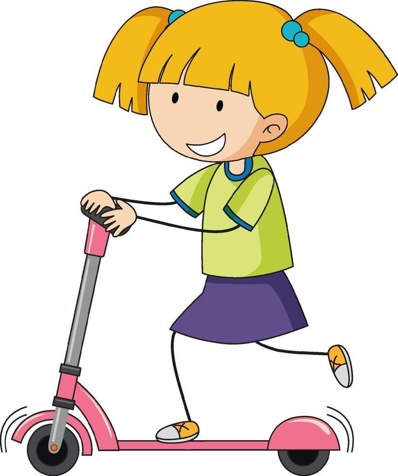 Un enfant de griffonnage jouant le personnage de dessin animé de scooter isolé vecteur