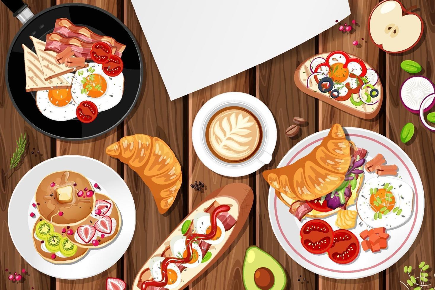 vue de dessus du petit déjeuner sur la table vecteur