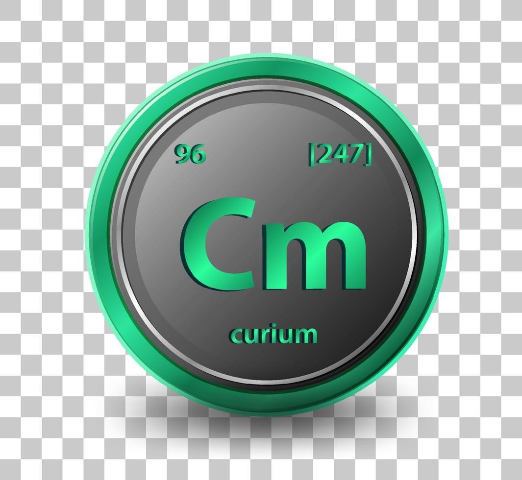 élément curiumchimique. symbole chimique avec numéro atomique et masse atomique. vecteur