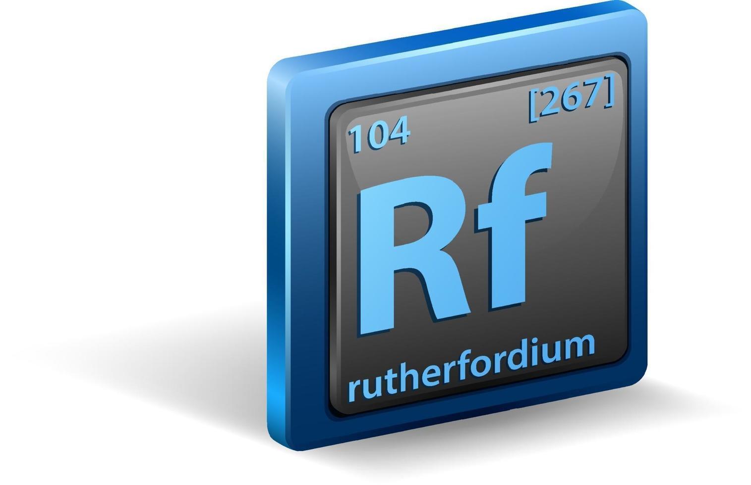 élément chimique rutherfordium. symbole chimique avec numéro atomique et masse atomique. vecteur