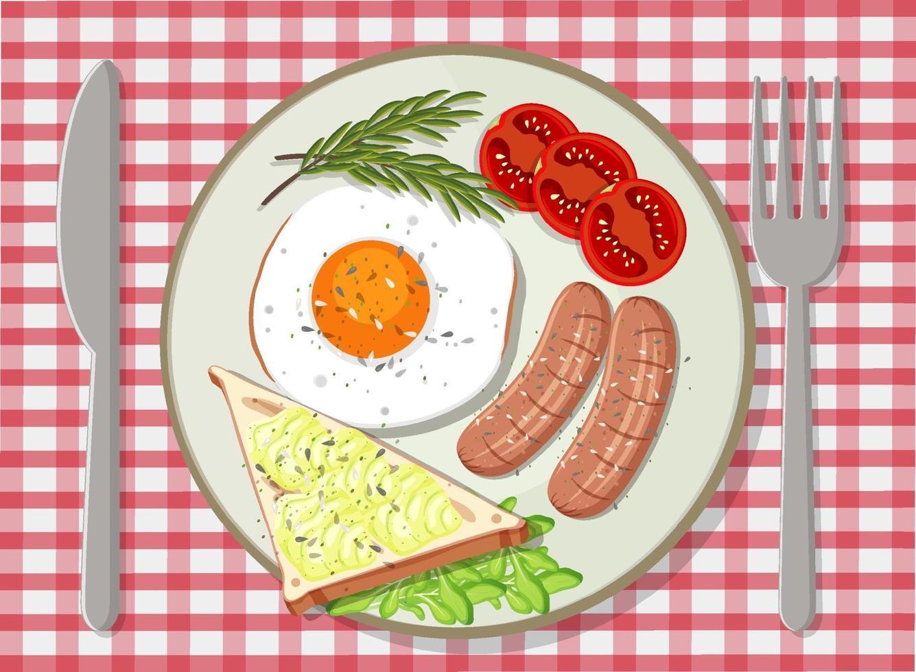 petit-déjeuner dans une assiette vue de dessus vecteur