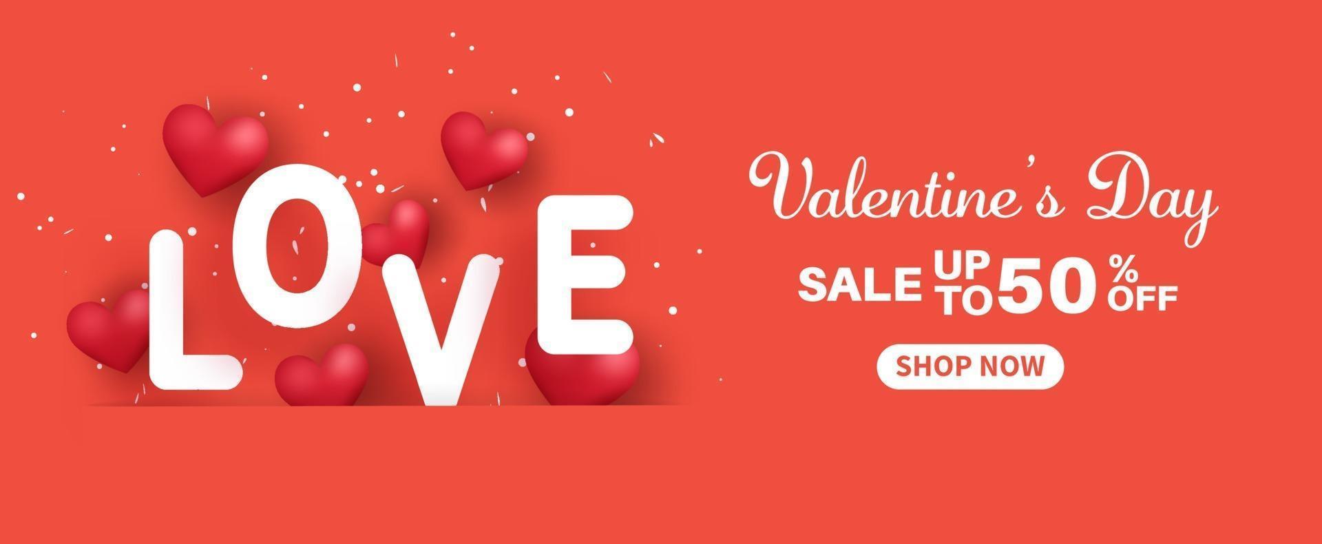 bannière de vente de la Saint-Valentin. vente jusqu'à 50. vecteur
