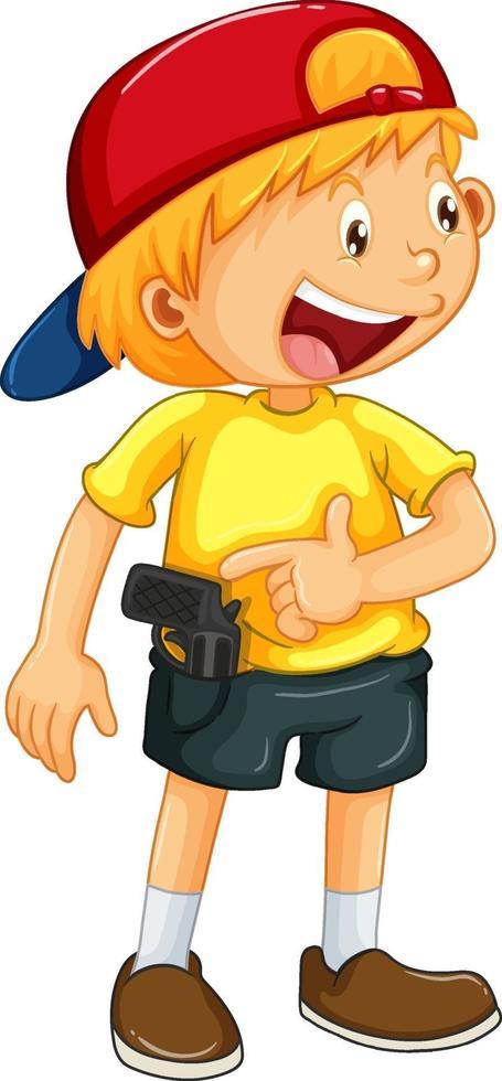 Un garçon heureux avec jouet pistolet sur fond blanc vecteur