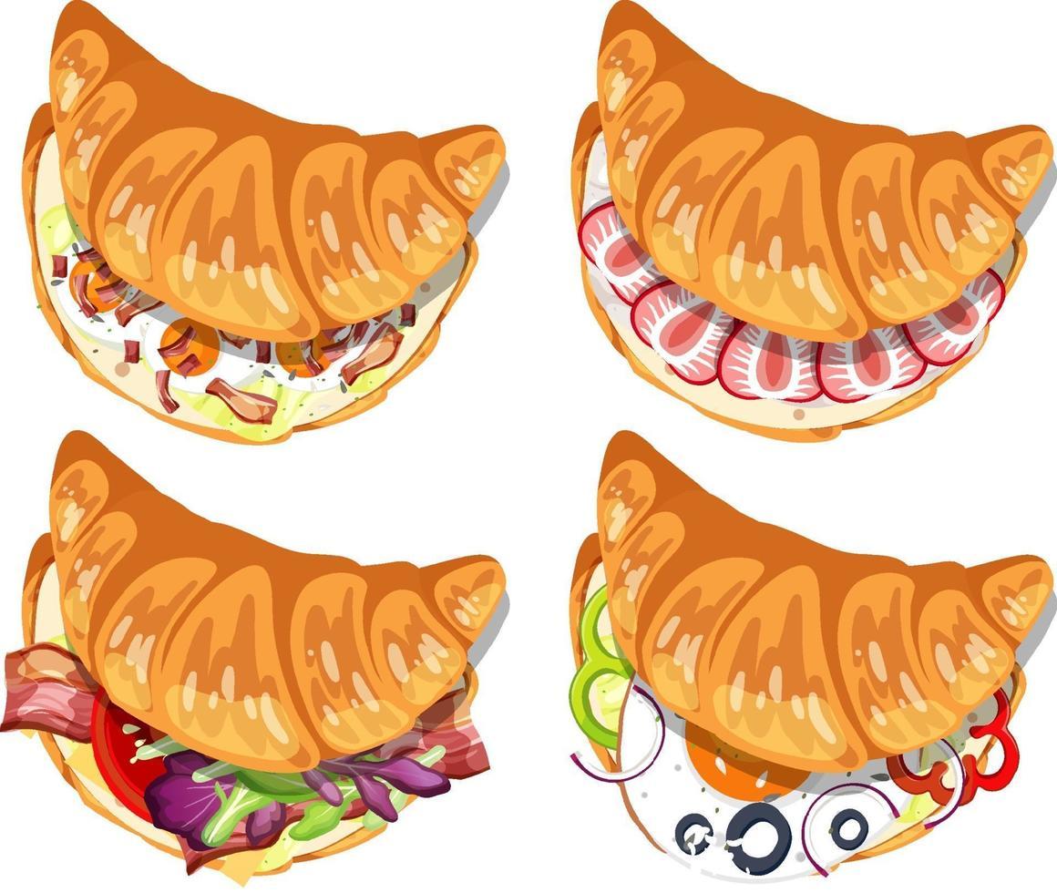 ensemble de différents sandwichs croissant isolés vecteur