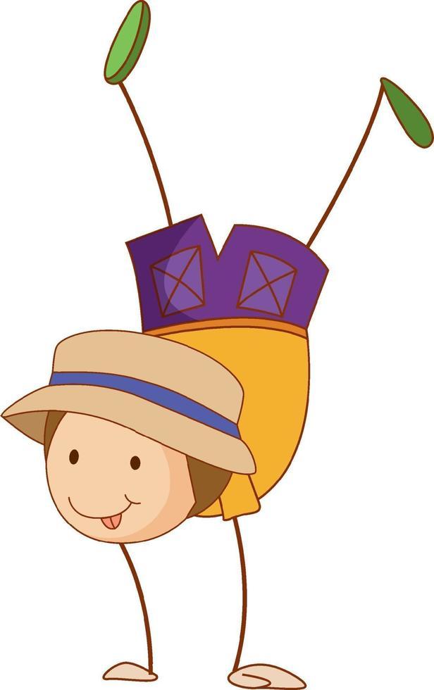 Un enfant de doodle exécutant un personnage de dessin animé de break dance isolé vecteur