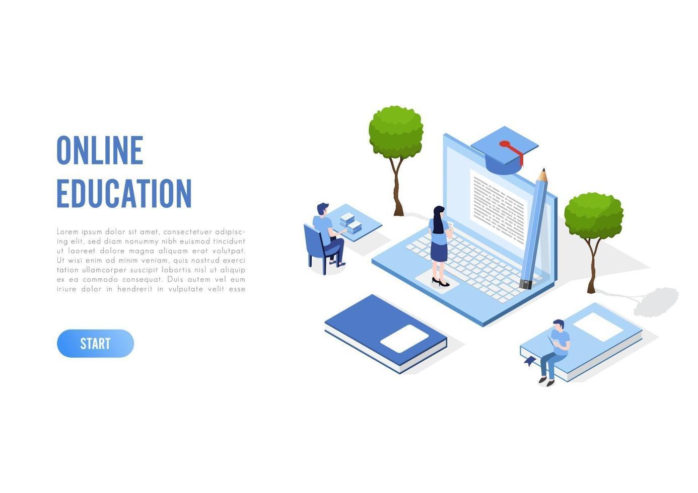 bannière de concept d'éducation en ligne avec des personnages. peut utiliser pour la bannière Web, les infographies, les images de héros. illustration vectorielle plat isométrique isolé sur fond blanc. vecteur