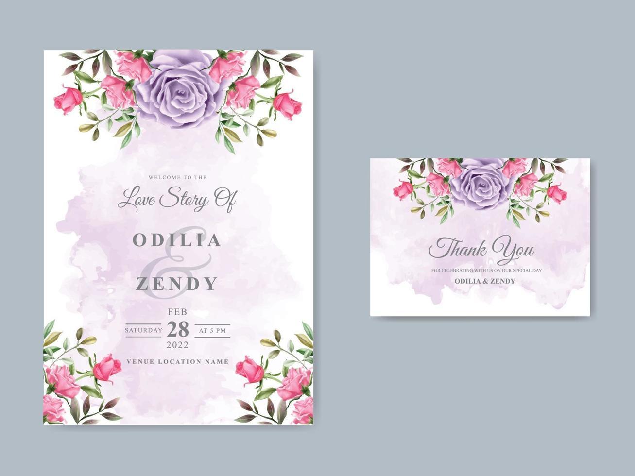 modèle d'invitation de mariage élégant avec un beau design floral vecteur