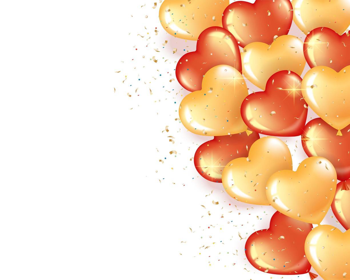 bannière avec des ballons en forme de coeur rouge et or vecteur