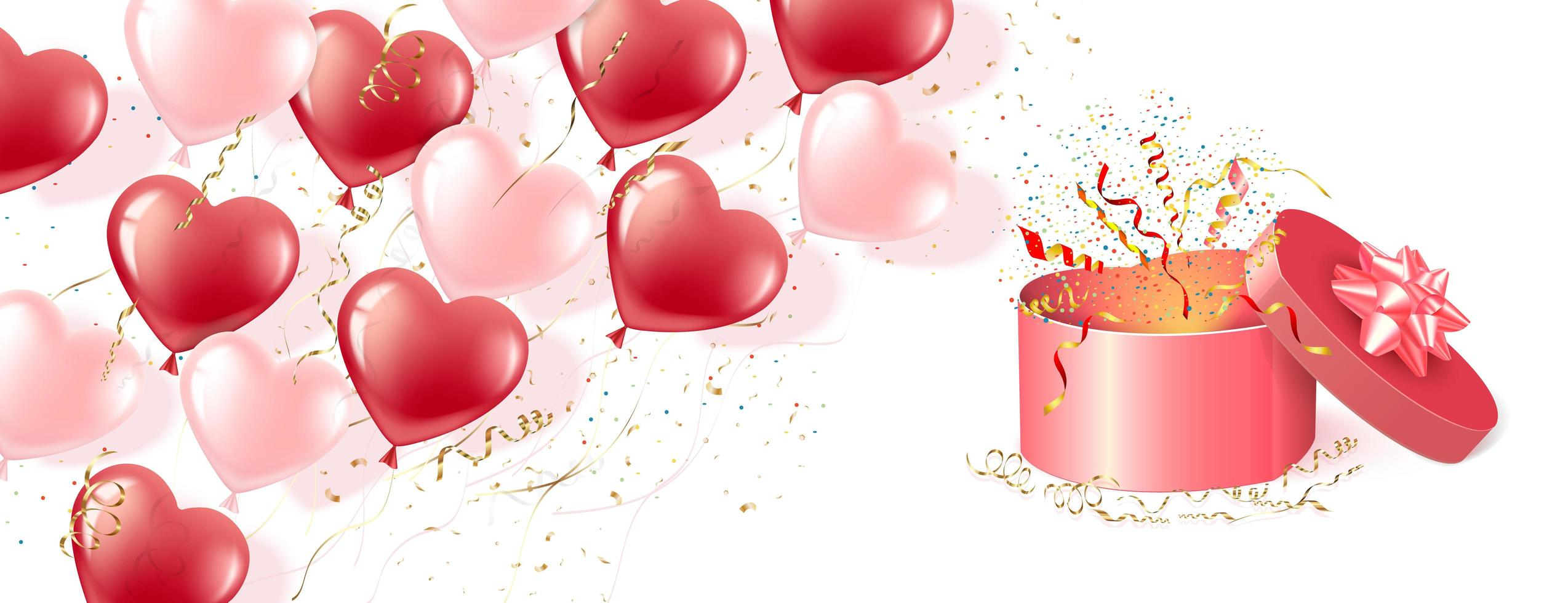 bannière de ballons en forme de coeur rose et rouge et coffret cadeau vecteur