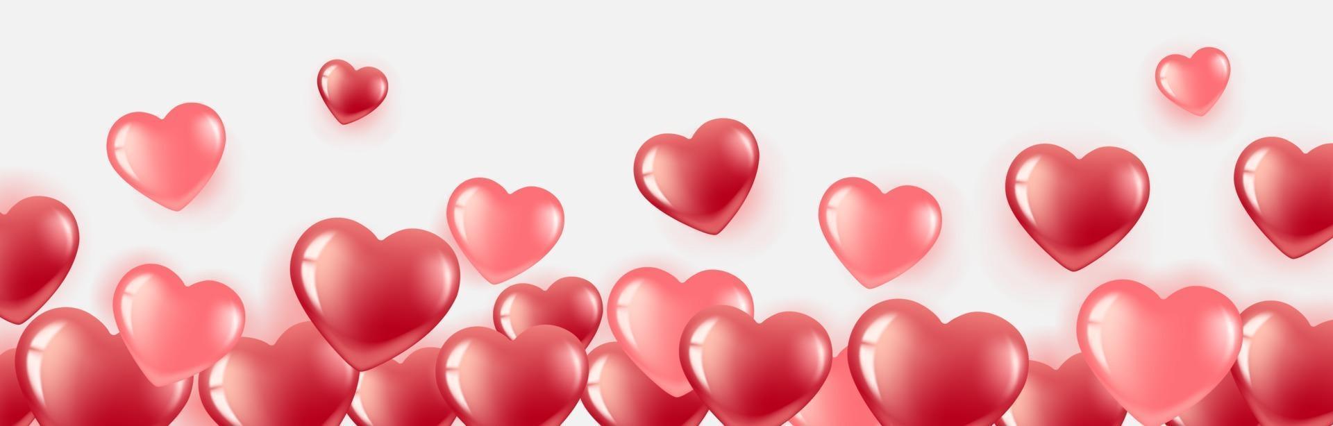 bannière de coeur avec des ballons roses et rouges vecteur