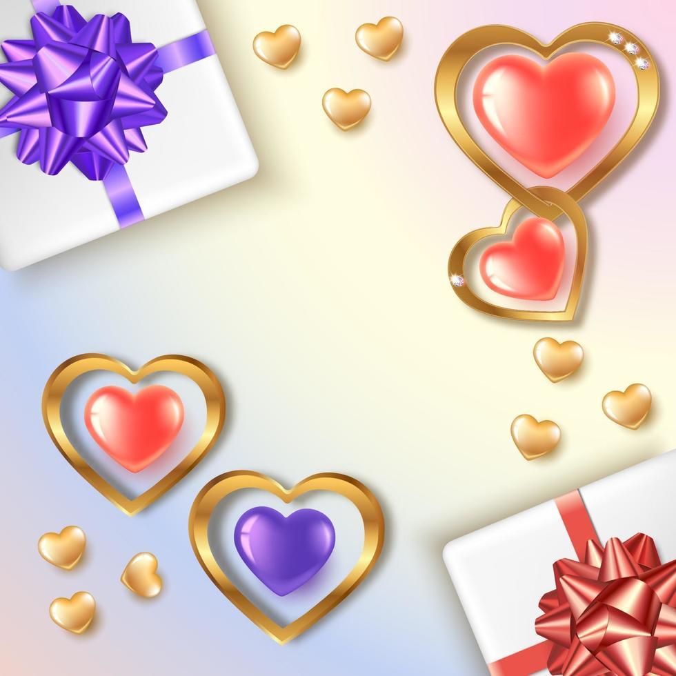 bannière carrée de la saint-valentin avec des coeurs et des cadeaux en or rouge et violet vecteur