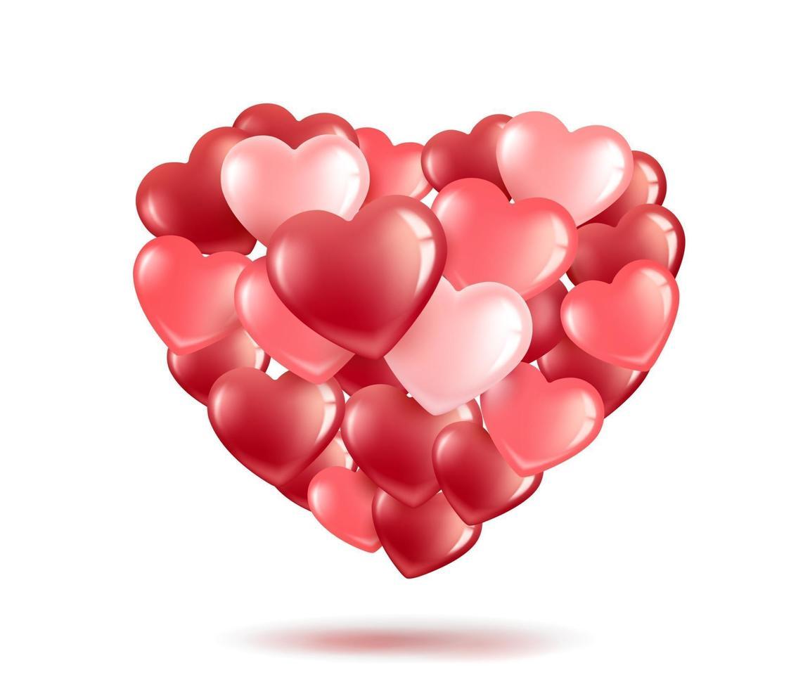 ballons en forme de coeur vecteur