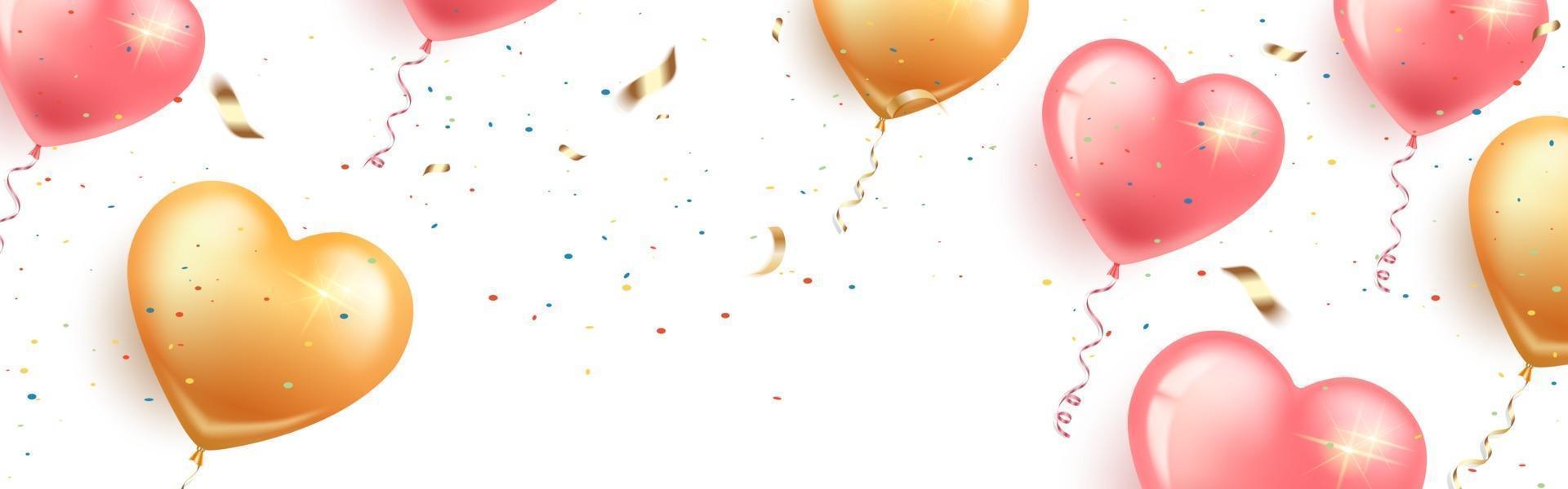 bannière horizontale festive avec des ballons en forme de coeur rose et or, des confettis et de la serpentine. carte joyeux anniversaire, journée de la femme, Saint Valentin, mariage. fond blanc isolé. vecteur