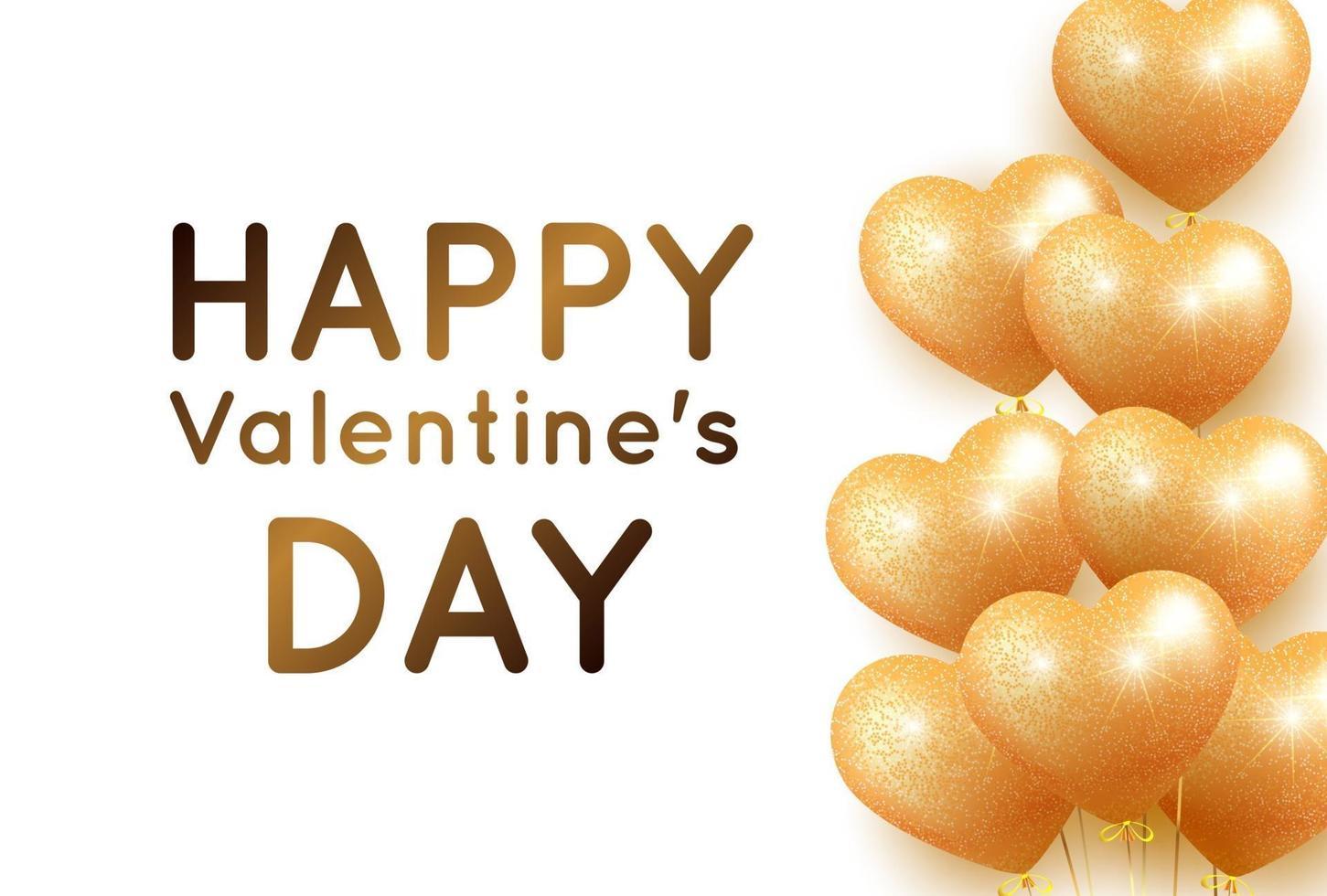 bannière avec des ballons coeur doré pour la saint valentin vecteur