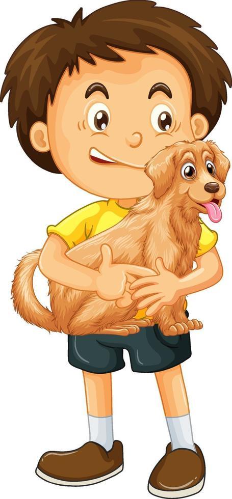 personnage de dessin animé garçon heureux étreignant un chien mignon vecteur