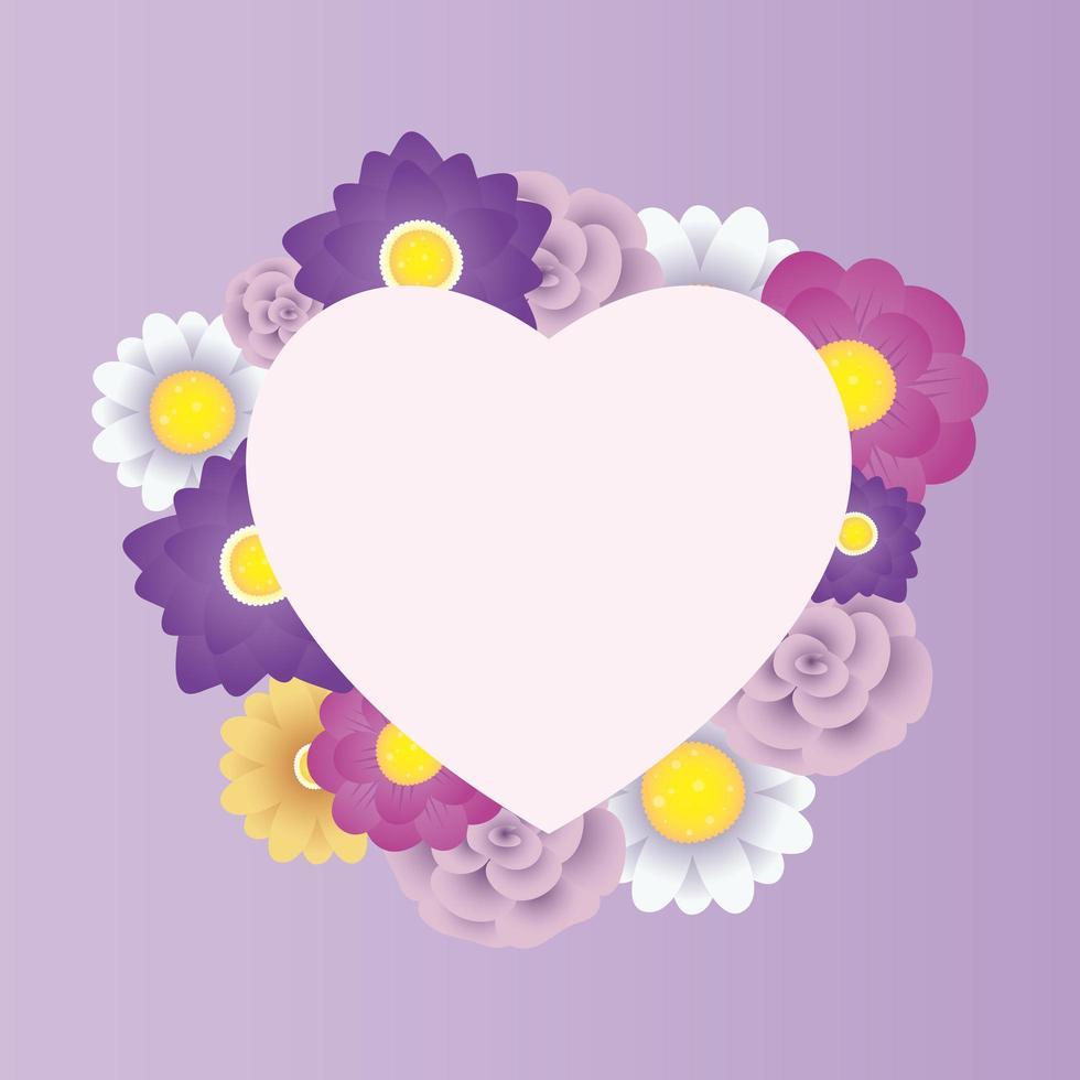 modèle de carte décorative florale avec cadre coeur vecteur