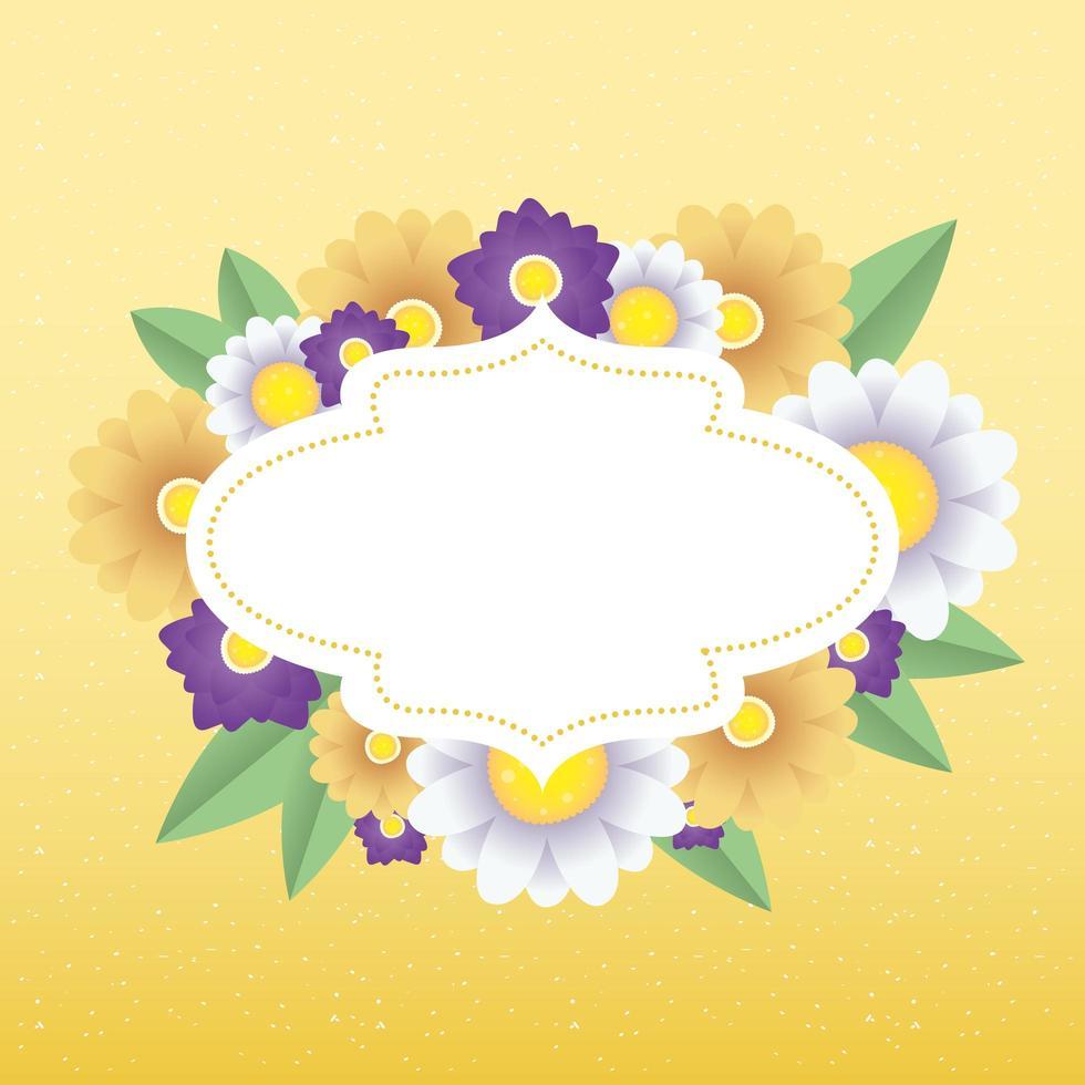 modèle de carte décorative florale avec cadre élégant vecteur