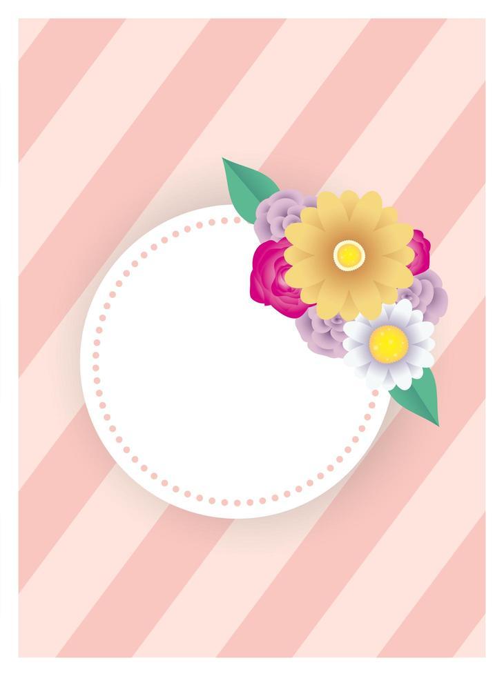 modèle de carte décorative florale avec cadre cercle vecteur