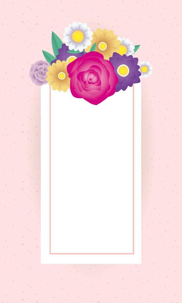 modèle de carte décorative florale avec cadre carré vecteur
