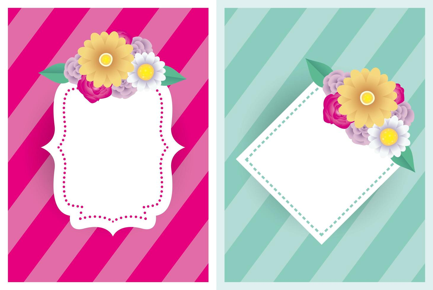modèle de jeu de cartes décoratives florales avec des cadres élégants vecteur