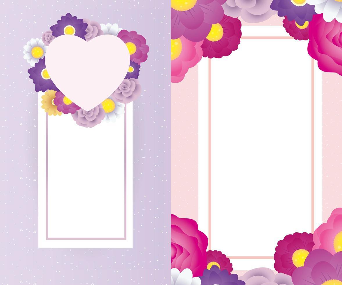 modèle de carte décorative florale avec cadre carré et coeur vecteur