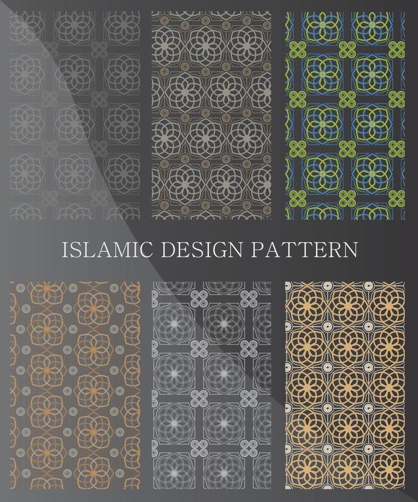 modèles sans couture ornementales islamiques. collection de motifs géométriques dans le style oriental. motifs ajoutés au panneau nuancier. vecteur