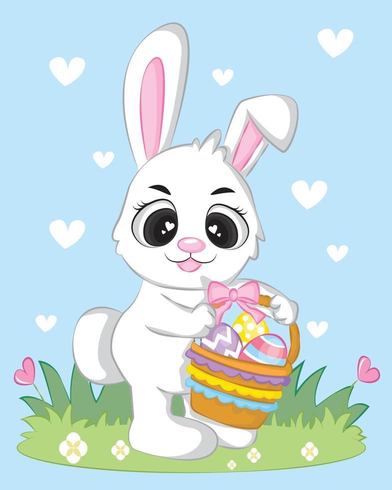 dessin animé bébé lapin avec panier vecteur
