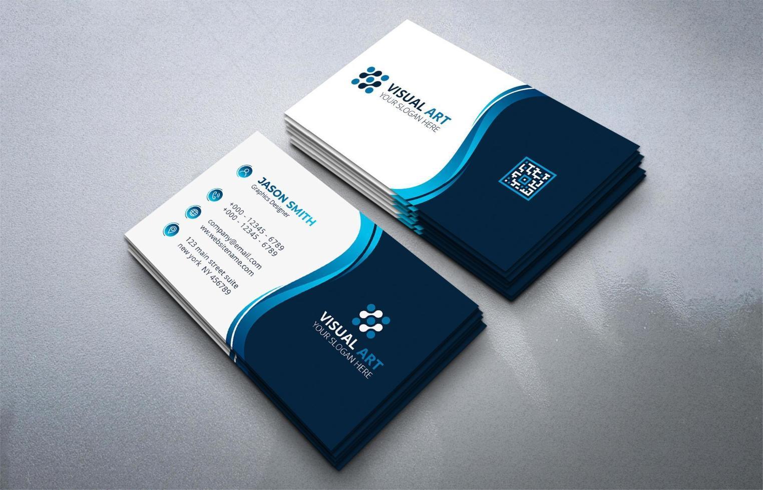 carte de visite bleue, carte de visite élégante vecteur