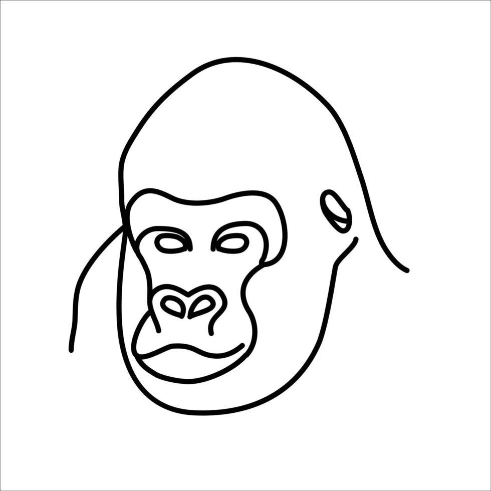 conception d'icône animaux gorille. vecteur, clipart, illustration, style de conception d'icône de ligne. vecteur