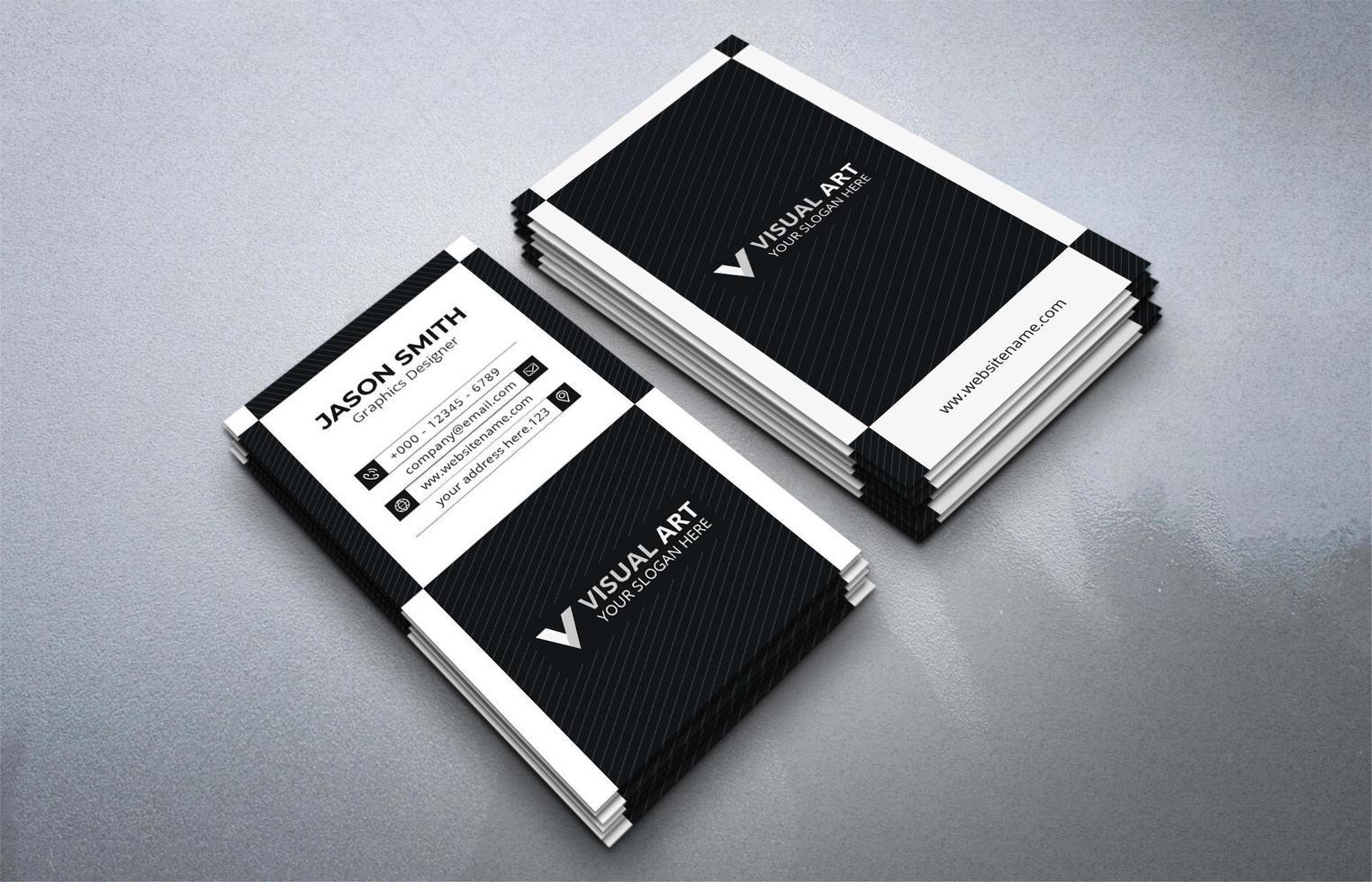 ensemble de cartes de visite verticales noir et blanc vecteur