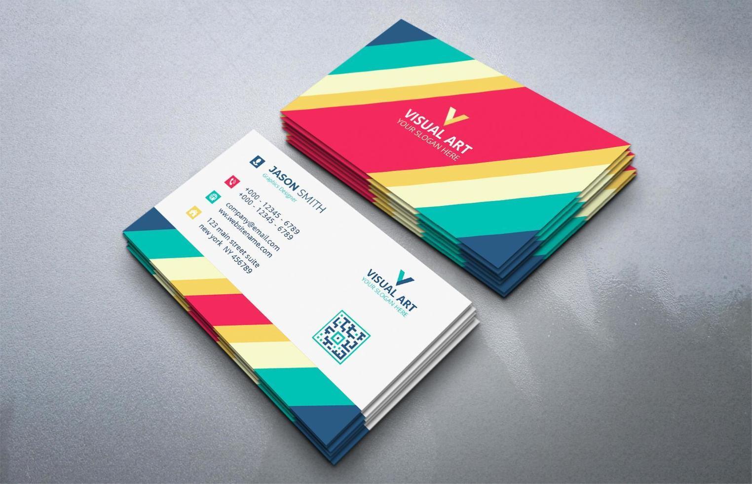 jeu de cartes de visite colorées géométriques vecteur