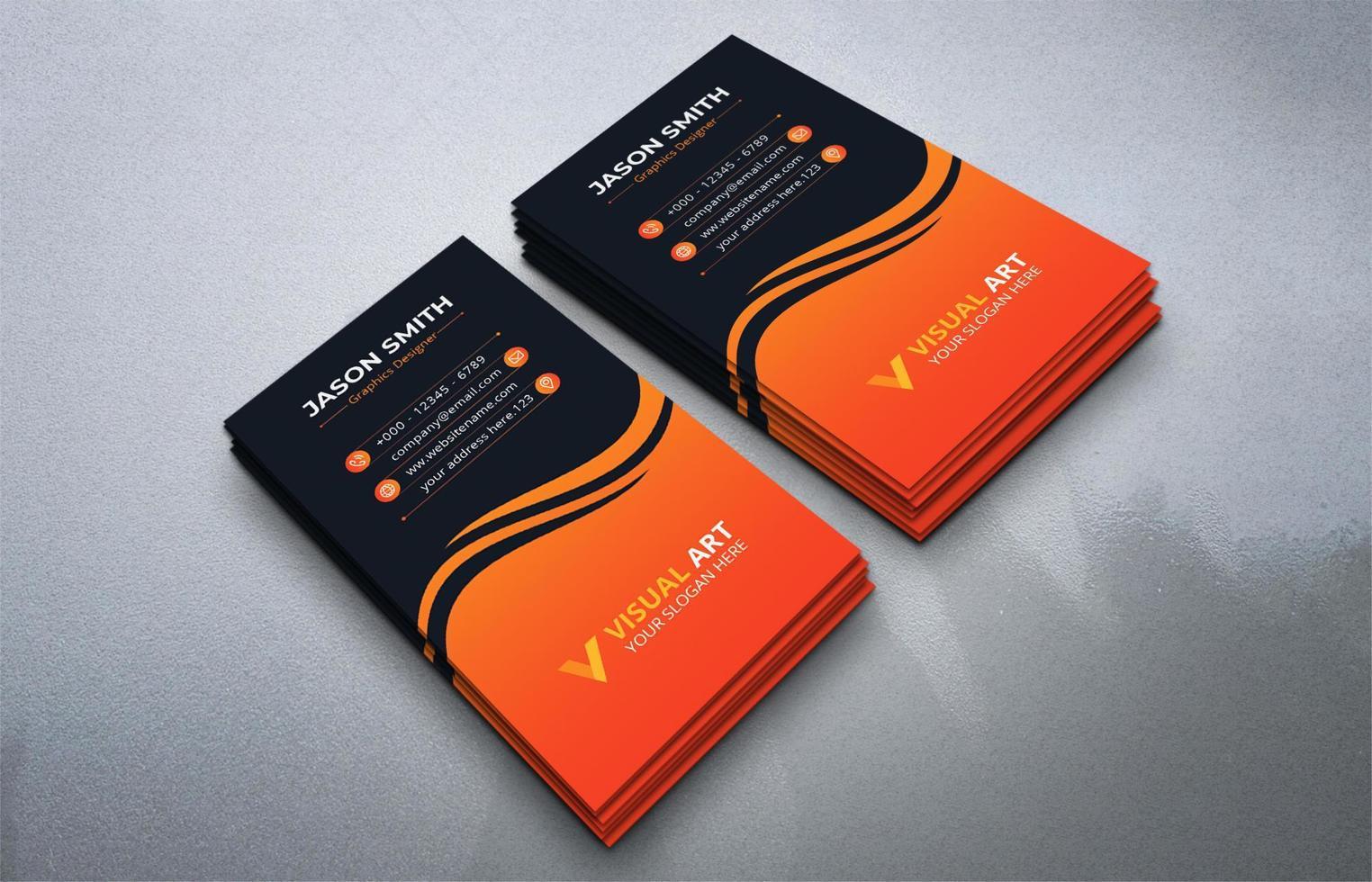 ensemble de cartes de visite verticales noir et orange vecteur