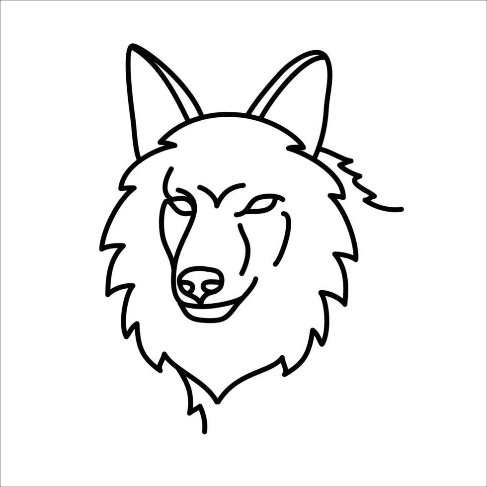 conception d'icône de coyote animal. vecteur, clipart, illustration, style de conception d'icône de ligne. vecteur