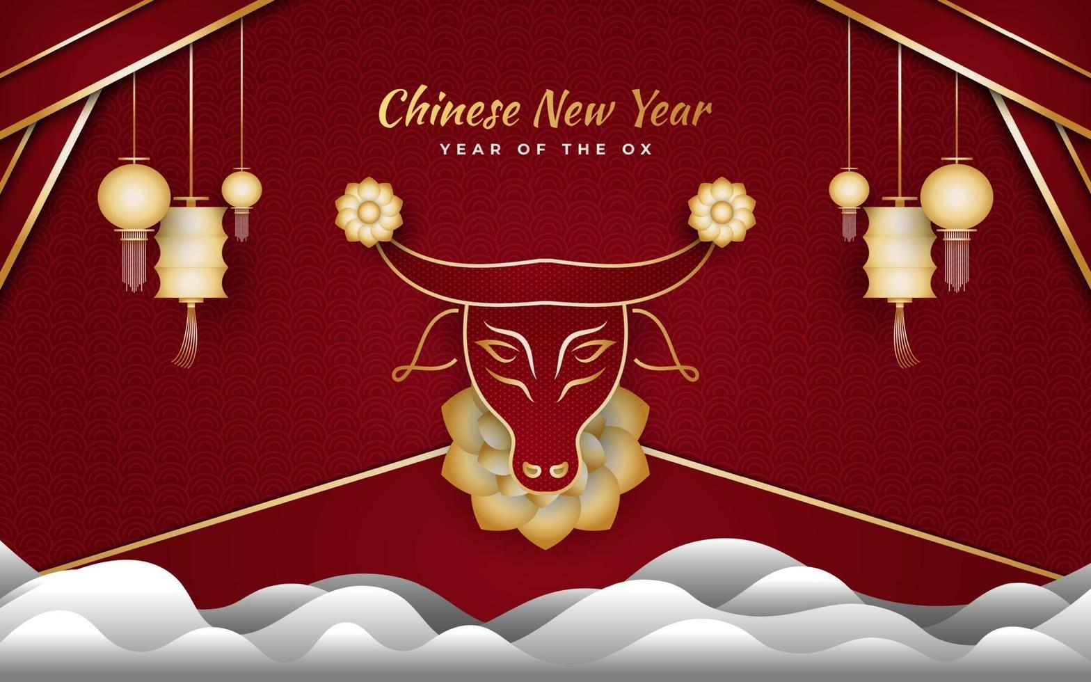nouvel an chinois 2021 année du bœuf. bonne année lunaire bannière avec bœuf doré, nuage et lanterne sur fond rouge vecteur