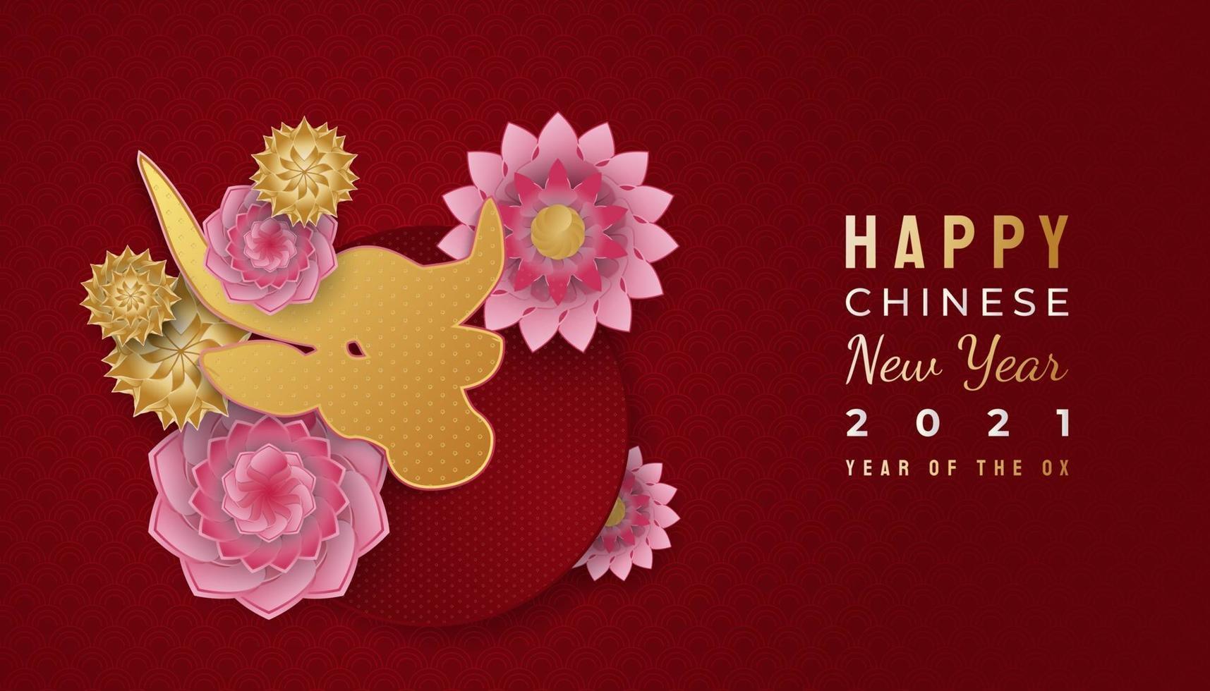 nouvel an chinois 2021 année du bœuf. Bonne année lunaire bannière avec bœuf doré et ornements de fleurs colorées sur fond rouge vecteur